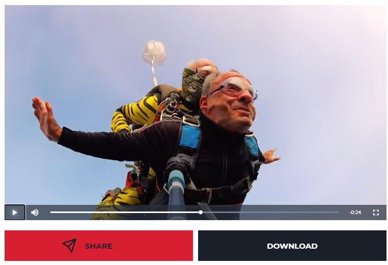 saut en parachute filmé